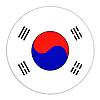 Photo 300 DPI: South Korea button with flag