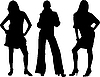 Three sexy girls silhouettes