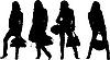 Vektor Cliparts: Einkaufen posiert girls
