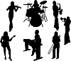 silhouettes of music girls