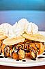 Waffle with banana   Stock Foto