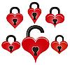 Vektor Cliparts: Sperren und Entsperren roten Herzen