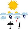 Vektor Cliparts: Illustration der Wettersymbole