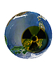 Japanese globe with radiation sign | Stock Foto