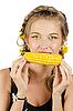 Nice woman eating corn-cob | Stock Foto