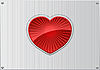 Vector clipart: red heart on aluminum
