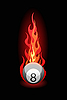 billiard ball in fire