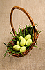 Basket with Easter eggs and grass  | Stock Foto
