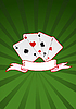Vector clipart: ace playing cards and ribbon