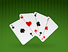 Vector clipart: playing ace cards on green