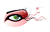 Vector clipart: green eye and pierced eyebrow