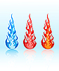 Vector clipart: set of glossy flames