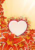 Vector clipart: orchid frame with floral heart