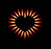Gasherd mit roten Flammen