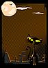 Векторный клипарт: черная кошка на кладбише ночью