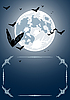 Vector clipart: Halloween frame with moon and bats