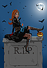 Vector clipart: Beautiful witch sitting on the tombstone