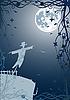 Векторный клипарт: пугало ночью под луной