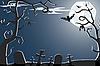 Векторный клипарт: Хэллоуин страшное кладбище ночью