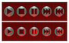 Vector clipart: Set of red buttons, on and off