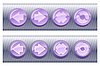 Set of violet browser buttons, on and off