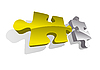 Vector clipart: Vector illustration of gold and silver puzzle pieces
