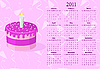 Vector clipart: pink calendar 2011 with cake