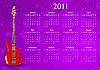 Векторный клипарт: календарь 2011 с бас-гитарой