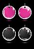 Векторный клипарт: розовые и черные круглые этикетки