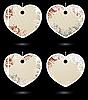 Векторный клипарт: розово-серые этикетки в форме сердечек