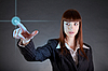 Photo 300 DPI: Business woman pointing on sensor screen