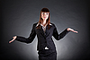 Cheerful business woman showing open hands | Stock Foto