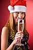 Smiling Mrs. Santa with champagne | Stock Foto