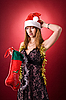 Photo 300 DPI: Disappointed girl with Christmas stocking