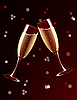 Vector clipart: champagne glasses splashing