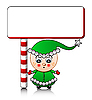 cute Santa helper boy with blank