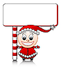 smiling Santa helper boy with blank
