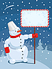 Vector clipart: Christmas greeting card with snowman