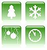 Set of green Christmas icons