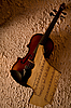 Old violin with burnt music sheet  | Stock Foto