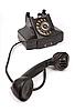 黑色老式电话与划痕 | 免版税照片