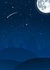 ночной пейзаж с луной