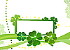 Vector clipart: Blank with green four-leafed clover