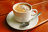 Cappuccino cup with metal spoon | Stock Foto
