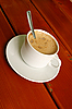 Cappuccino cup with spoon inside | Stock Foto
