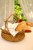 Bread basket on table | Stock Foto