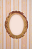 Oval frame on vintage wallpaper | Stock Foto