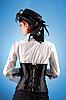 ID 3023320 | 빅토리아 스타일 옷에서 아름 다운 여자의 후면보기 | 높은 해상도 사진 | CLIPARTO