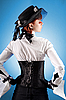Photo 300 DPI: Rear view of attractive girl in Victorian style clothes