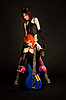 Two rock girls with guitar   Stock Foto